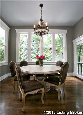 The beautiful breakfast nook features panoramic views.