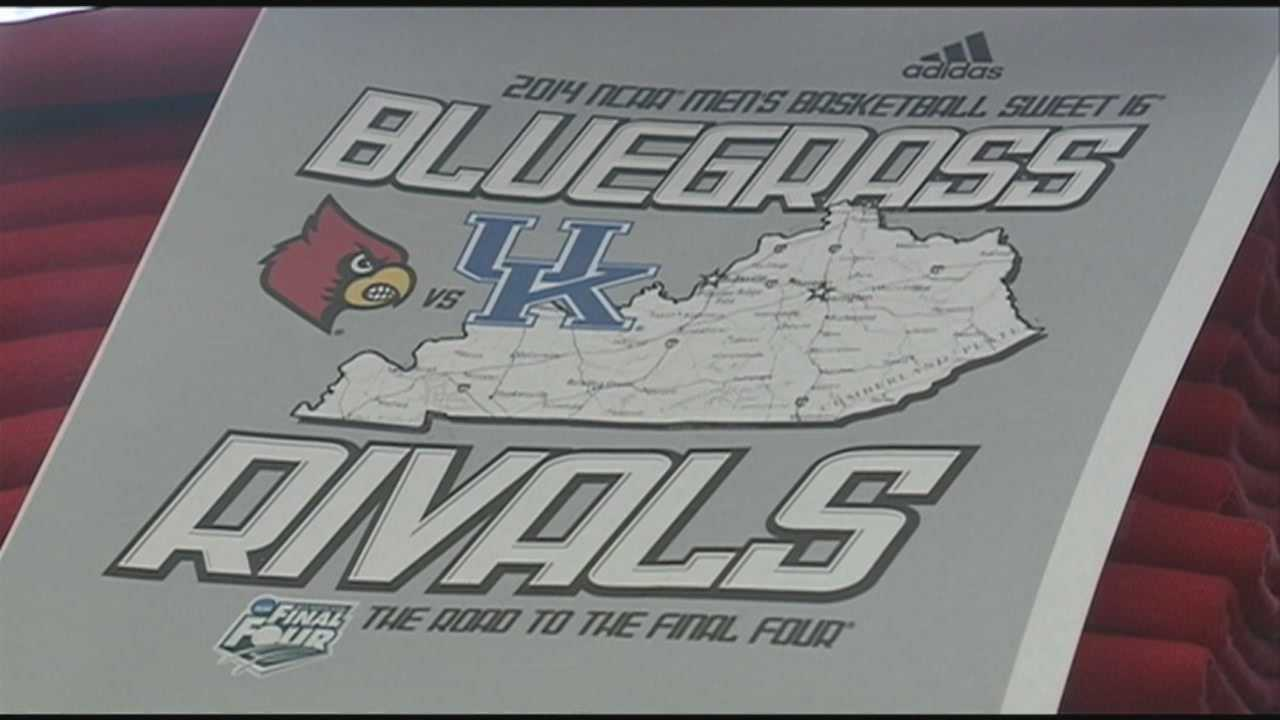 The universities of Kentucky and Louisville will battle it out for a spot in the Elite Eight on Friday night, but retailers are cashing in on the hype now.