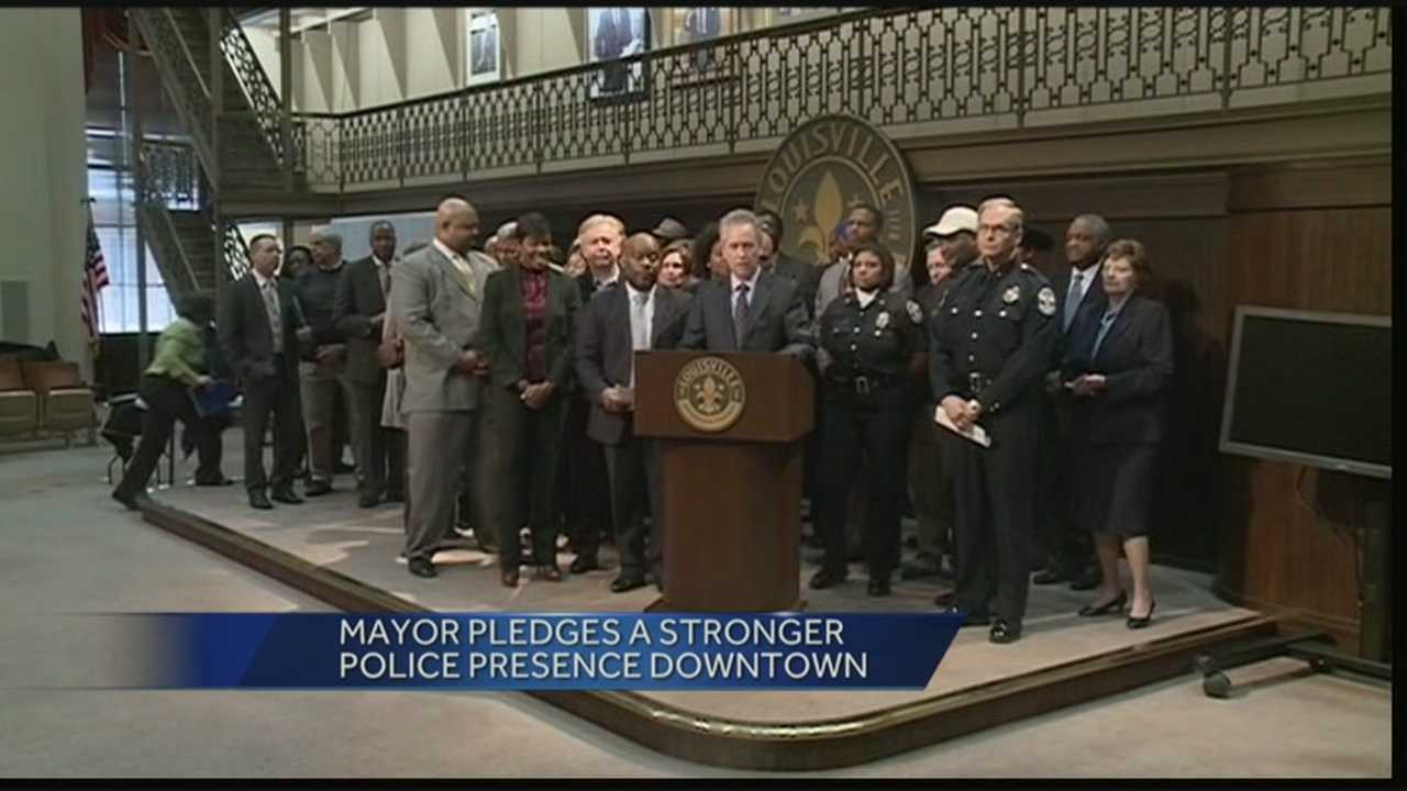 Mayor Greg Fischer promises to have more police presence downtown after a group of teens assaulted people on the streets.