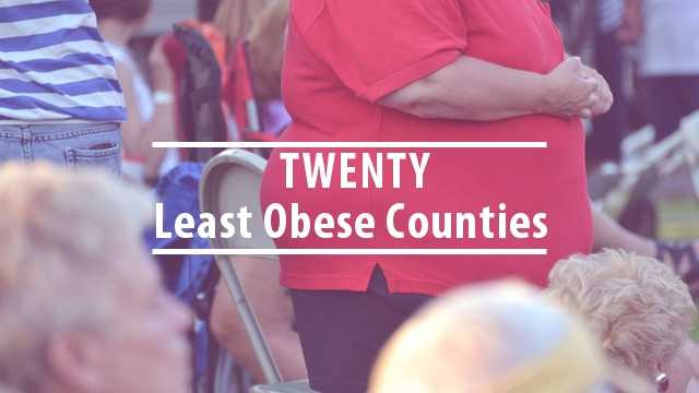 Now, take a look at the twenty least obese counties in Kentucky.