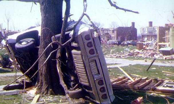 This photo was taken in Northfield by a meteorologist who was taking the official weather observations April 3, 1974 at the NWS weather office when the Louisville tornado formed.