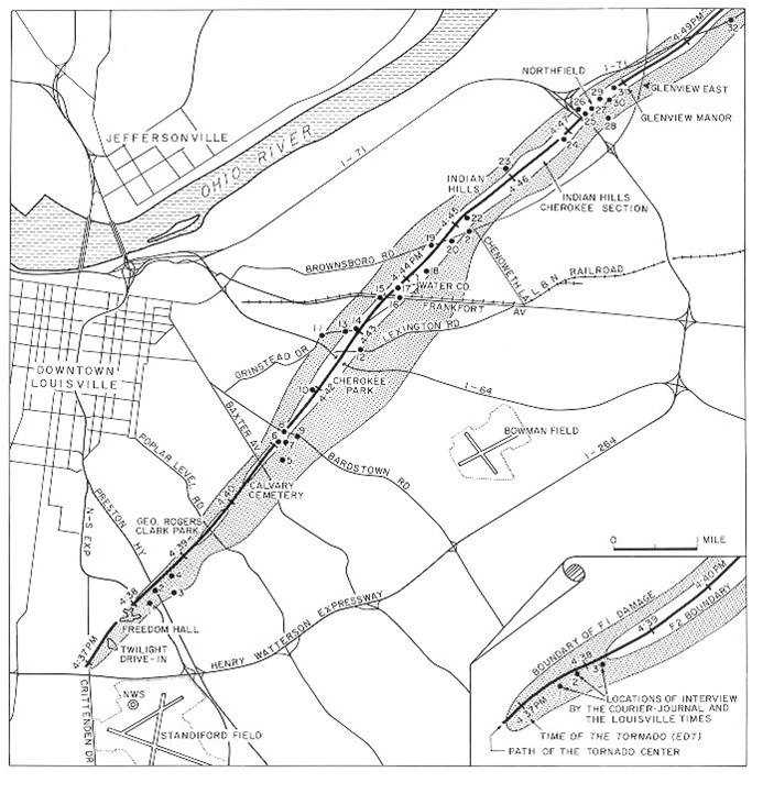 Illustrated map of the Louisville tornado path