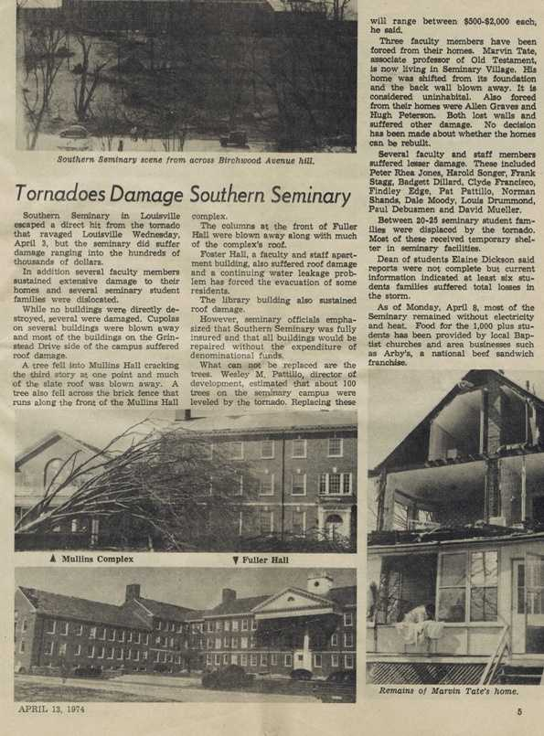 Original article from the Western Recorder about damages to the seminary and surrounding neighborhoods