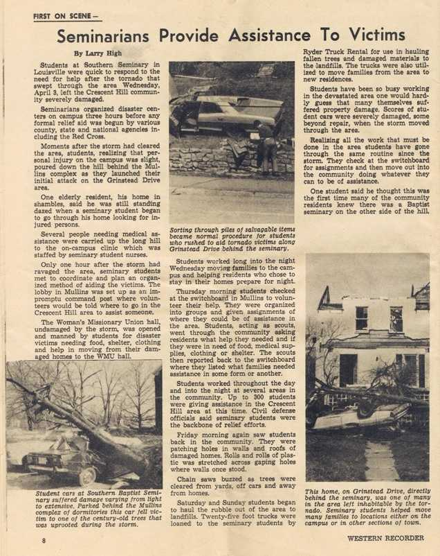 Original article from the Western Recorder about the Seminary students aiding tornado victims