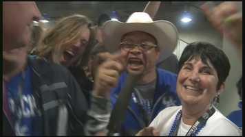 WLKY's Rick Van Hoose caught up with jubilant Kentucky Wildcat fans after Saturday night's win in Arlington, Texas.