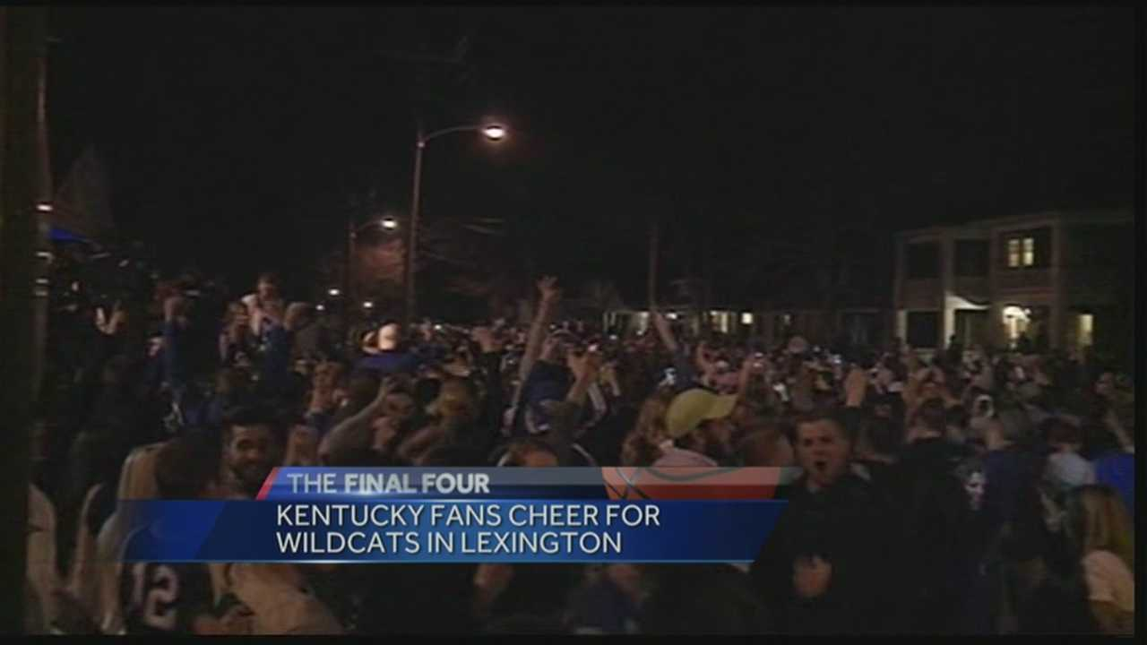 Kentucky fans filled the street, but police kept order in Lexington Saturday night after the Wildcats beat Wisconsin.