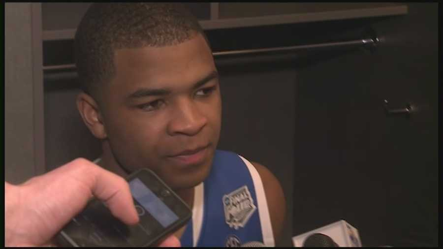 Aaron Harrison talks about youth and winning Final Four matchup with Wisconsin.