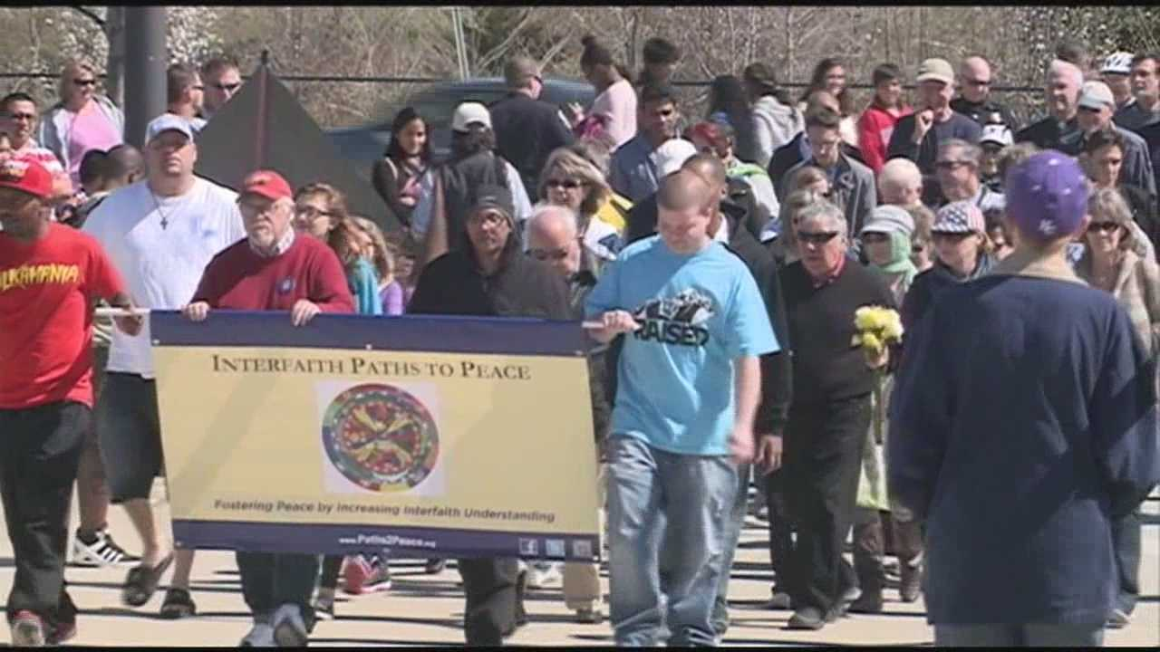 An anti-violence demonstration was held Monday on the Big Four Bridge.