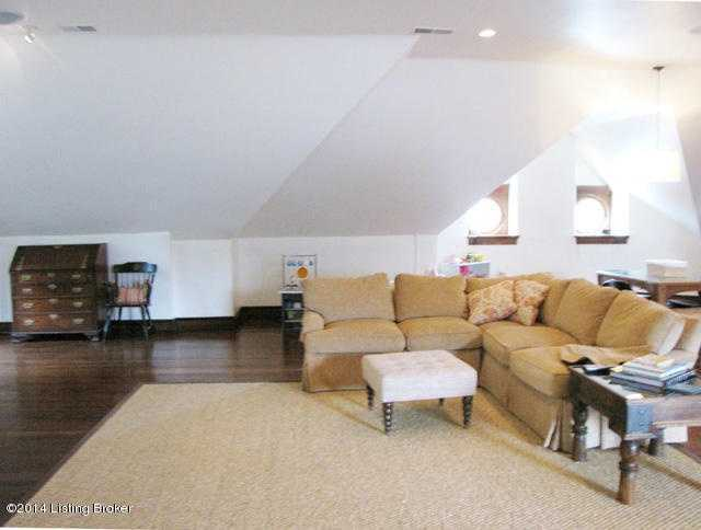 Comfy sectional serves as theater seating.