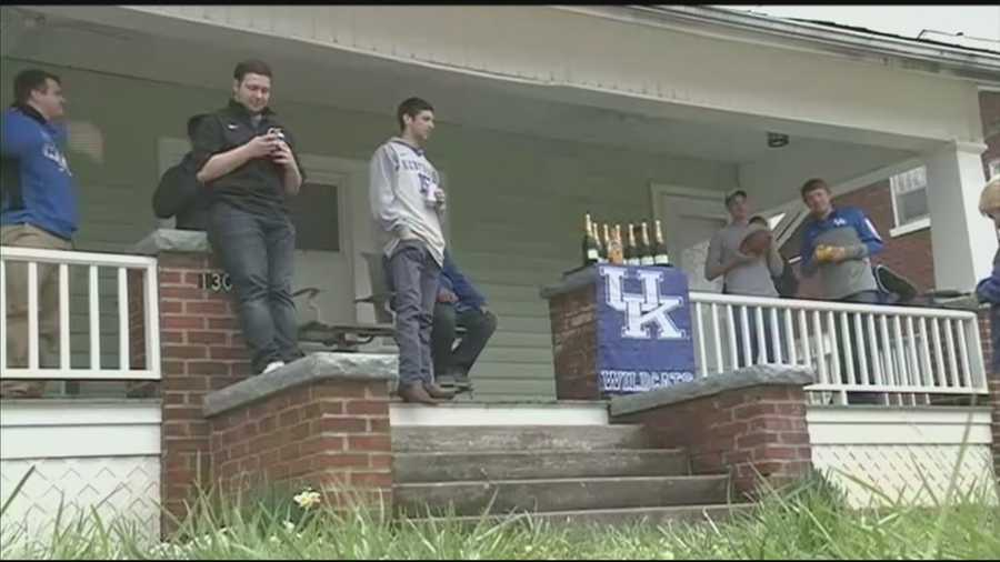 University of Kentucky students say they're prepared to celebrate the school's ninth NCAA men's basketball championship in hopes that the team will win Monday night.