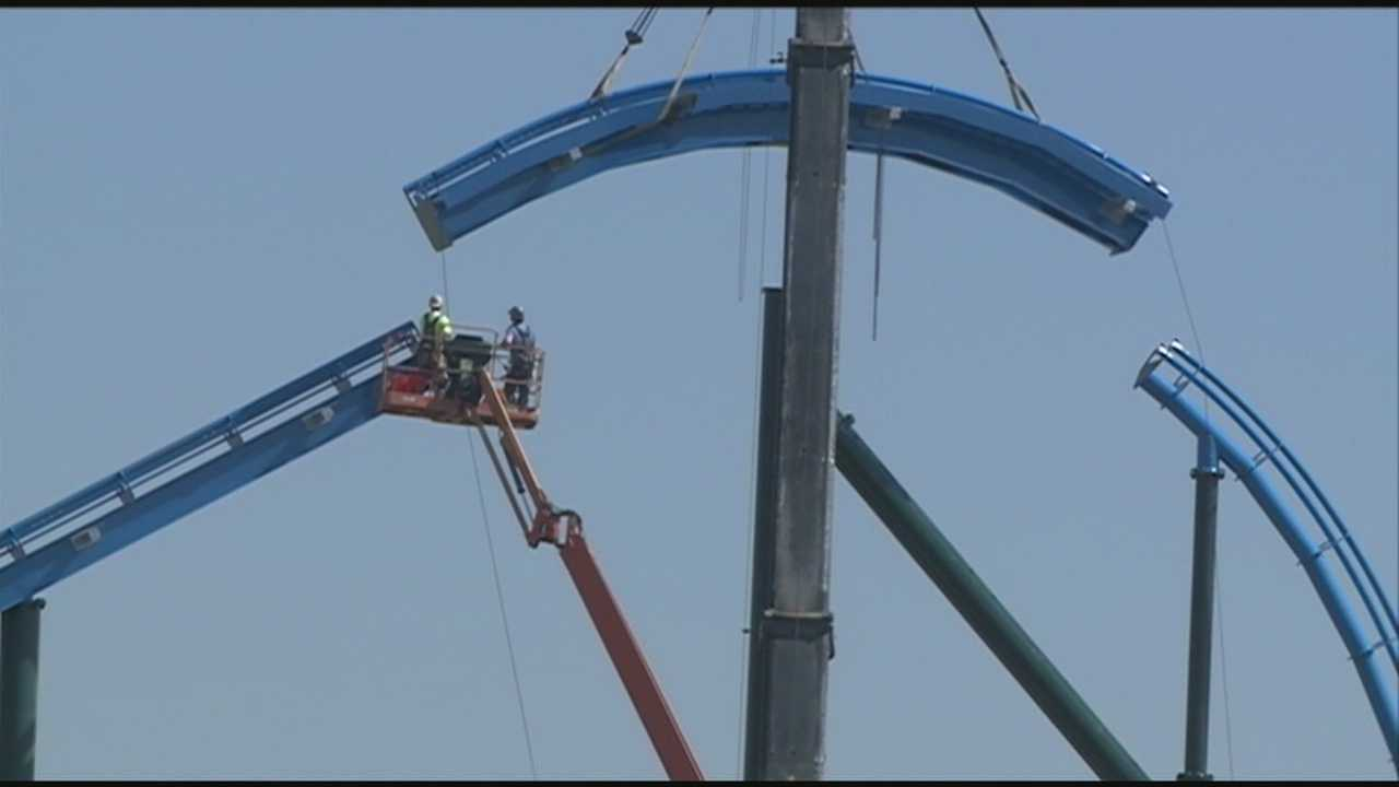 Construction crews are busy at Kentucky Kingdom, preparing the park for its May reopening.