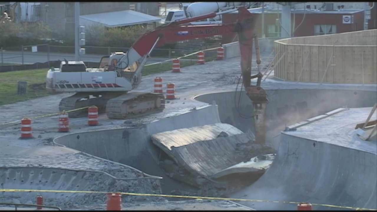 A portion of the Louisville Extreme Park is demolished Thursday to make room for the Ohio River Bridges Project.