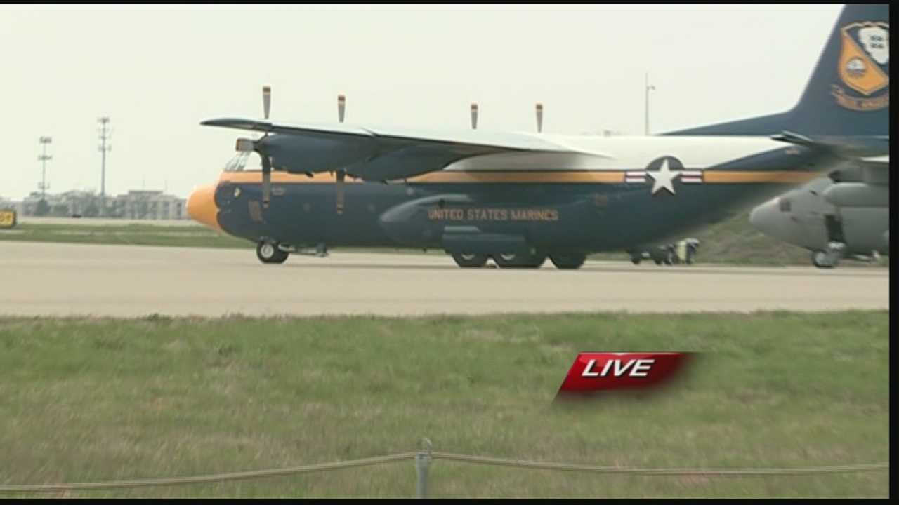 "WLKY meteorologist Matt Milosevich takes a ride in the Blue Angels' C-130 ""Fat Albert"" on Friday."