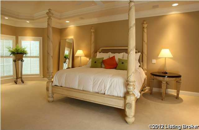 Beautiful tray ceilings in the master bedroom.