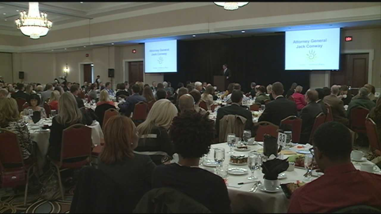 Kentucky Attorney General Jack Conway renews his fight against child abuse at a visit in Louisville.
