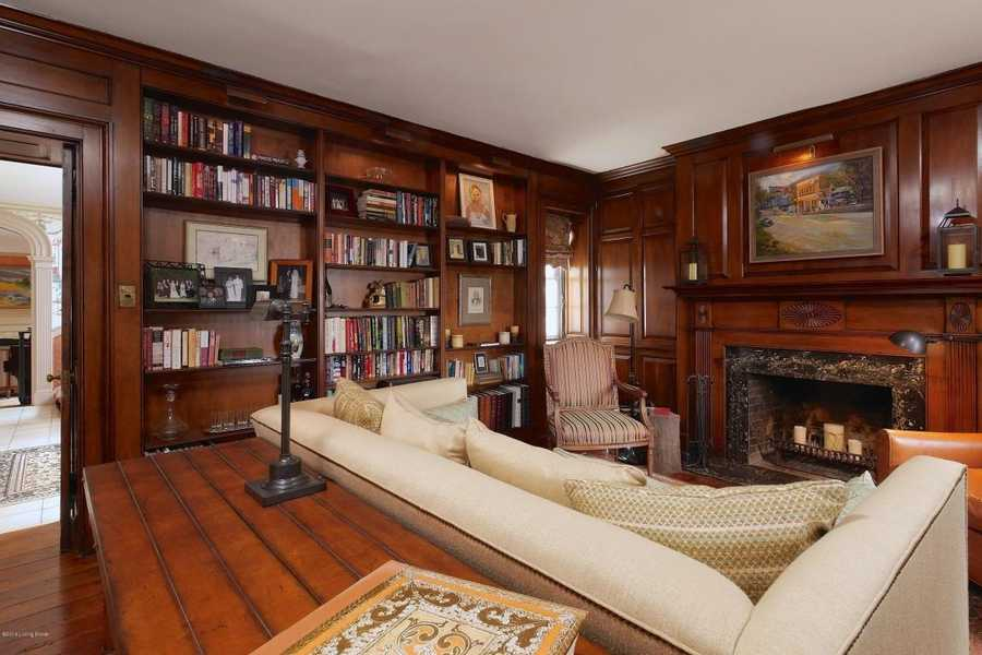 Sit by the fireplace in a wood paneled library built in 1810 for Thomas Jefferson's niece.