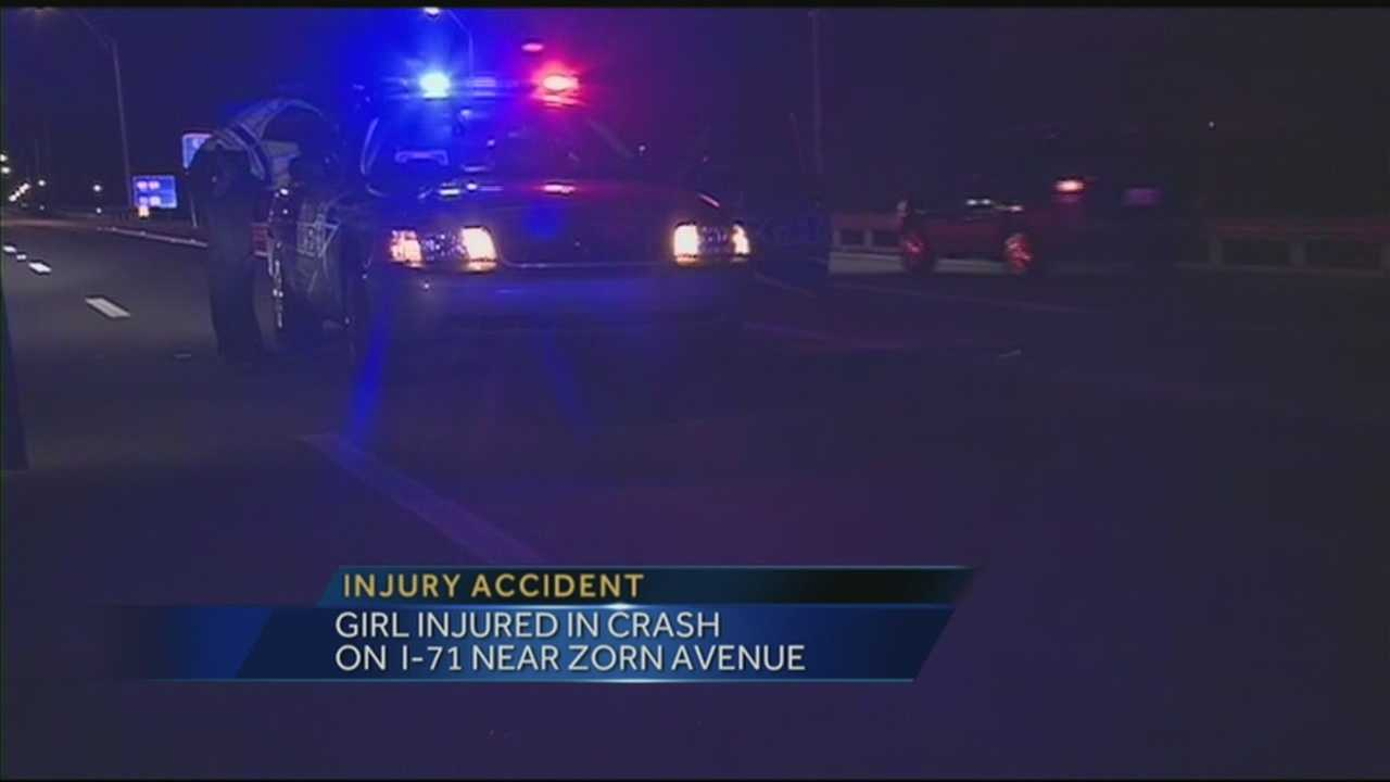 A 13-year-old girl was injured in a crash on I-71.