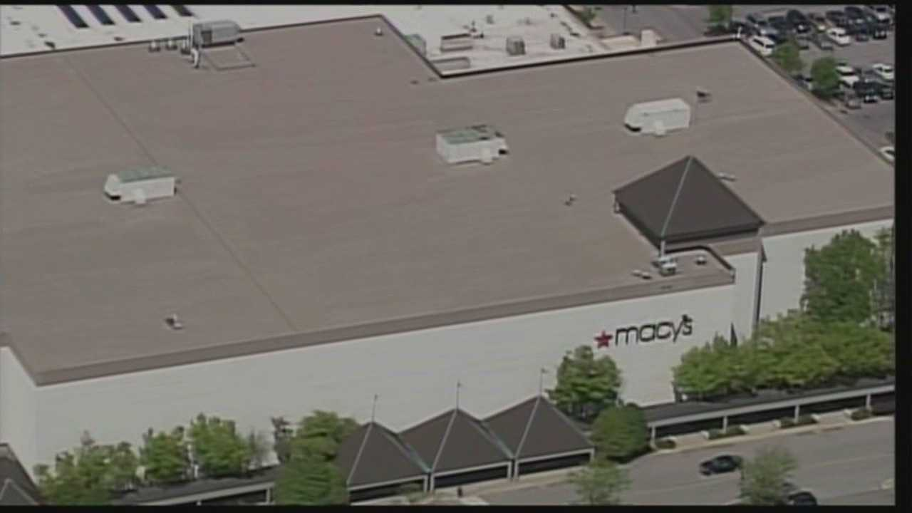 Police say someone cut a hole in the roof of Macy's at Oxmoor Center in Louisville and shimmied down a rope into the jewelry department, where they stole expensive watches