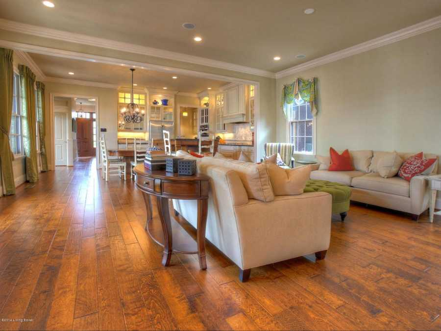 Directly in front the kitchen is a comfy family room.