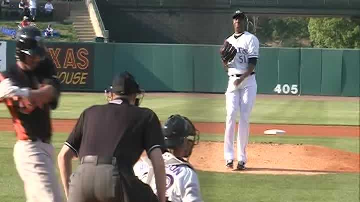 Cincinnati Reds' ace reliever Aroldis Chapman spent one inning with the Louisville Bats on Tuesday.