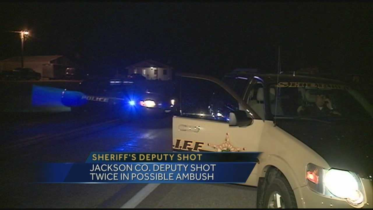 A Jackson County deputy is recovering after being shot twice.
