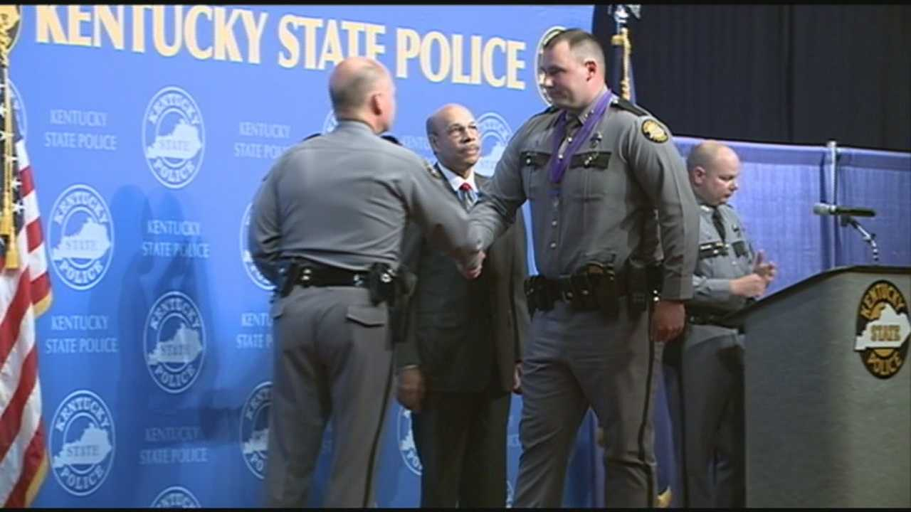 Kentucky State Police troopers are honored at a ceremony in Frankfort on Wednesday.