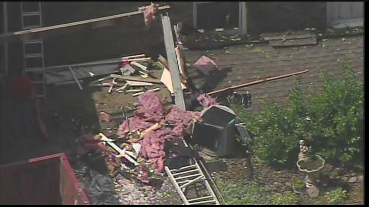 The WLKY NewsChopper flies over storm damage near Campbellsville along Salem Church Road.