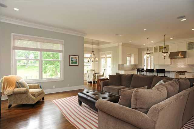 The open space also incorporates a comfortable family room.
