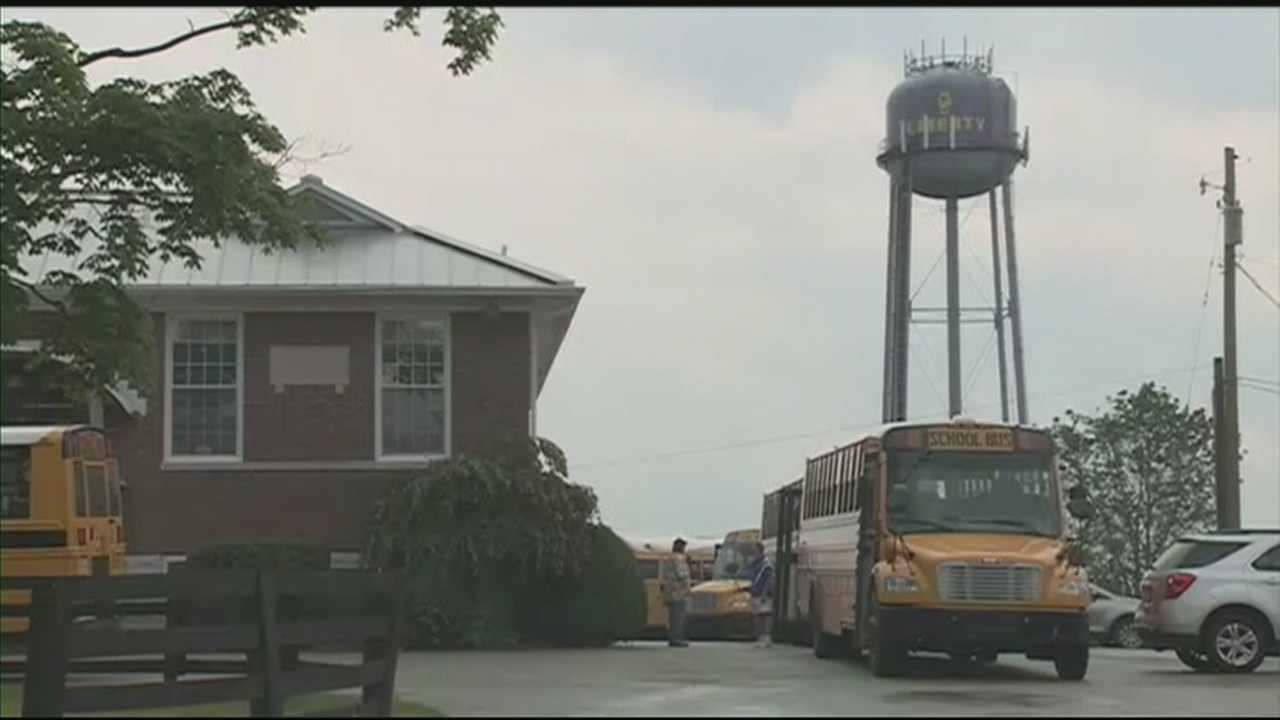 Liberty Elementary School hosts its final Purple Water Tower Day before closing.