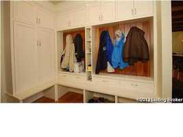 """""""Locker style"""" space for coats."""