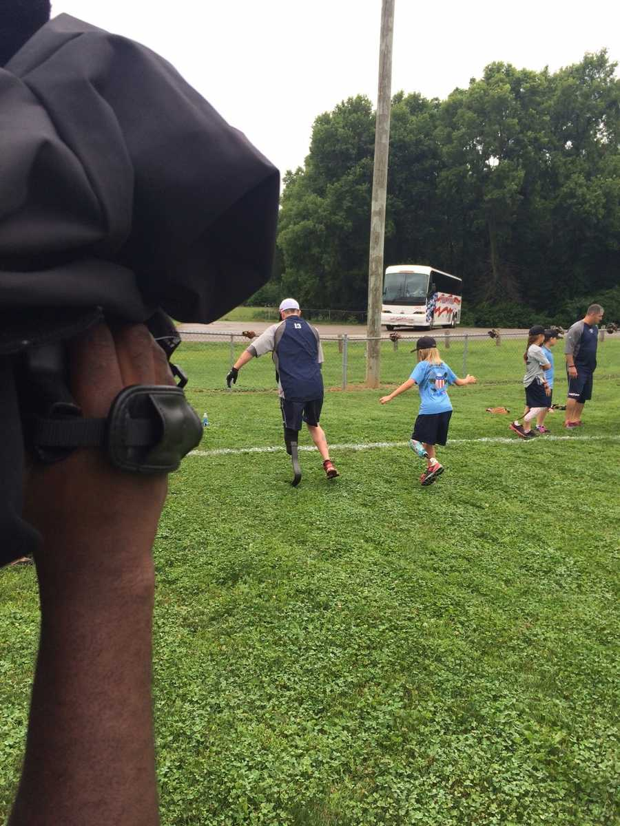 The Wounded Warrior amputee softball team hit Louisville Tuesday to kick off its second annual kids camp.
