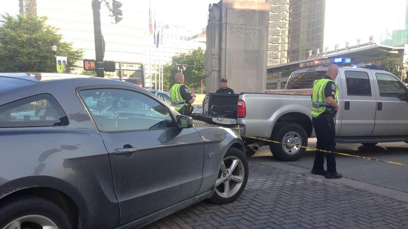 An accident involving a pedestrian closes the Clark Memorial Bridge.