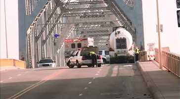 Police say a woman was struck and killed while trying to cross the base of the Clark Memorial Bridge just before 8 a. m. Thursday.