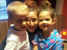 Brittany Garvin and her children, 4-year-old Wyatt and 5-year-old Kayleigh as they recovered from their injuries.