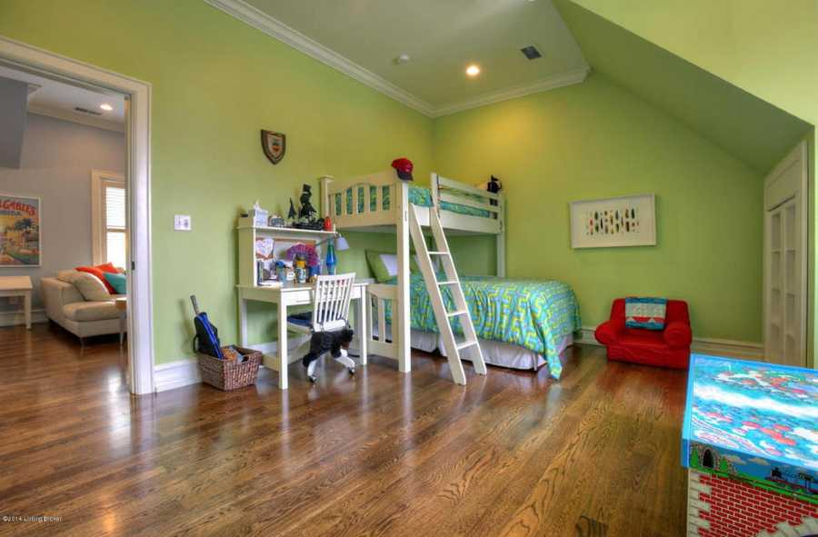 Cool vaulted ceilings and ample play space in this room, right outside the community loft space.