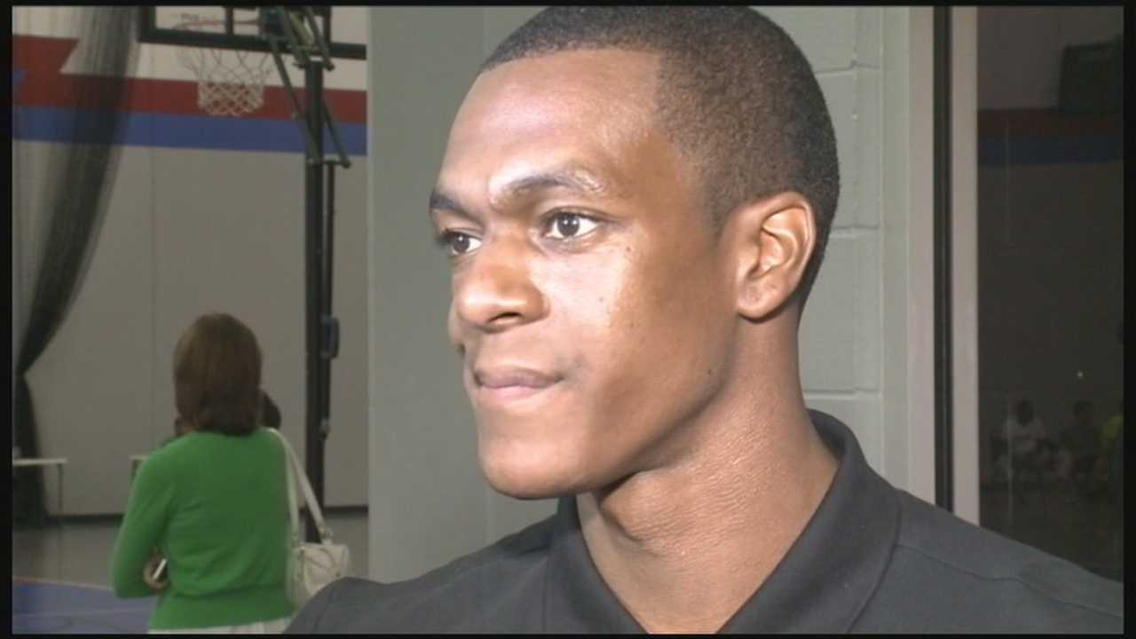 Former University of Kentucky Wildcat and current Boston Celtic Rajon Rondo is in town for his youth basketball Camp Rondo.