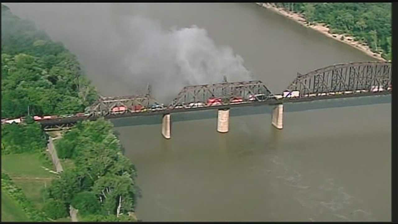 Crews battled a fire on the K&I Bridge for several hours on Monday night.
