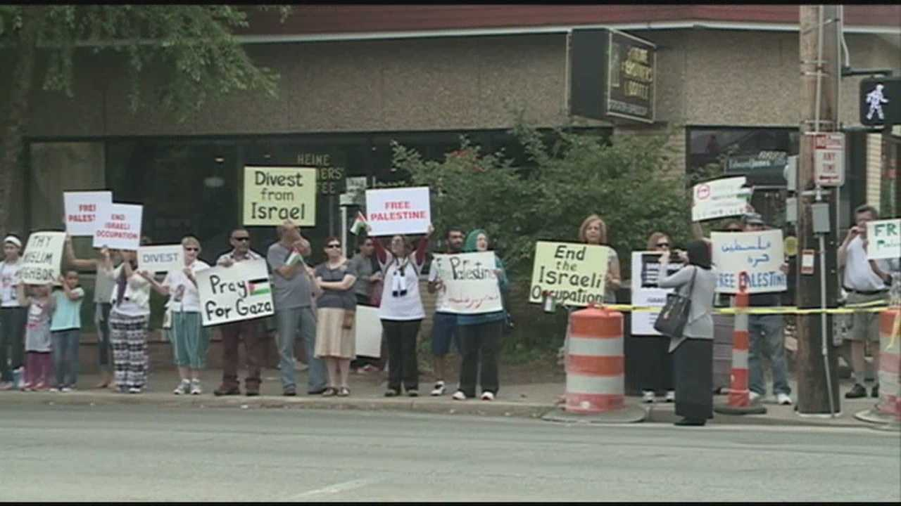 Protesters in Louisville are calling on Israel to stop its air strikes on the Gaza Strip.