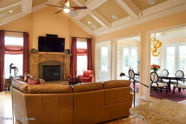 The family room welcomes warm memories.