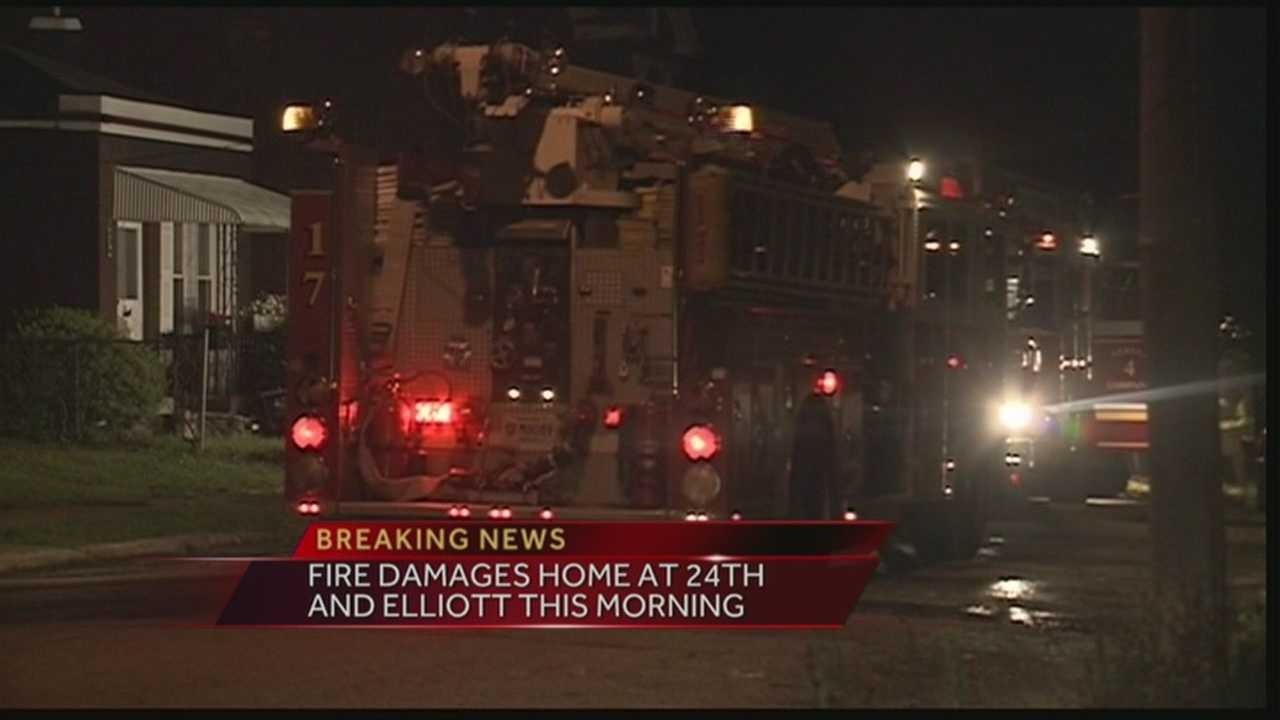 A home was damaged after catching fire Wednesday morning at 24th and Elliott.