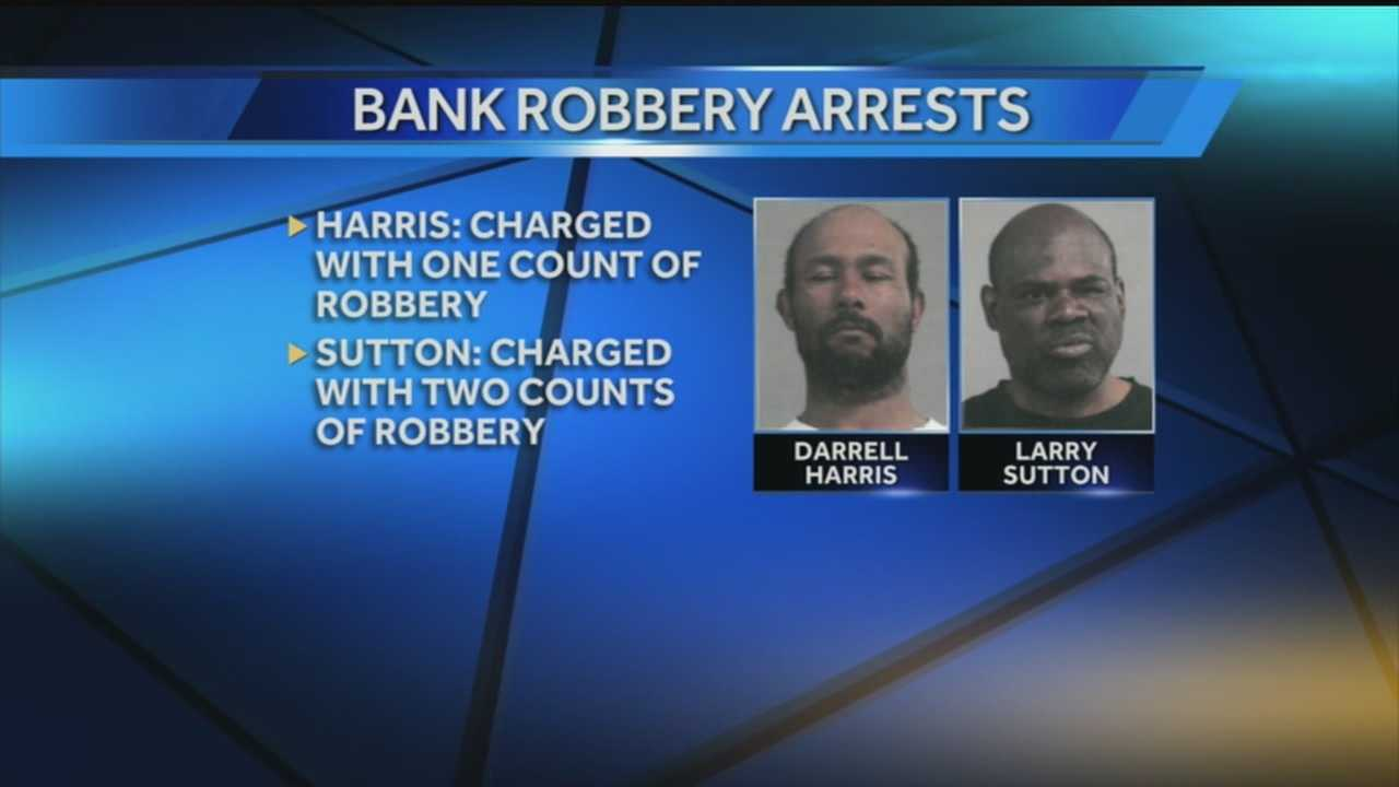 Louisville Metro Police arrest two men in connection with three bank robberies in the downtown area.