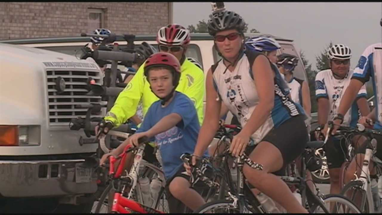 Indiana State Police officers bike from Jeffersonville to Madison as part of it Cops Cycling For Survivors ride.