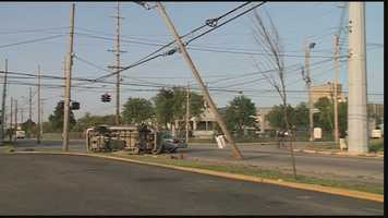 The vehicle hit a utility pole in the crash.
