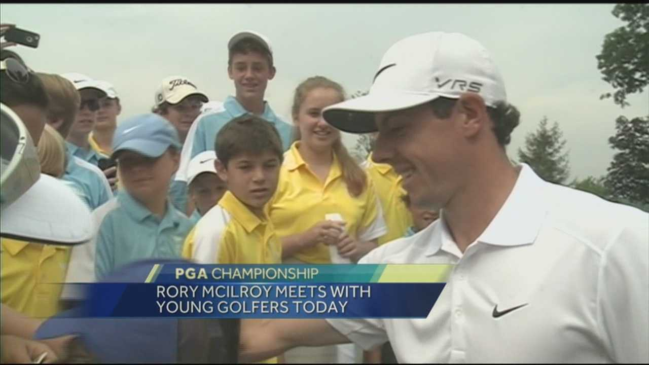 Golfer Rory McIlroy meets with young golfers at Valhalla.