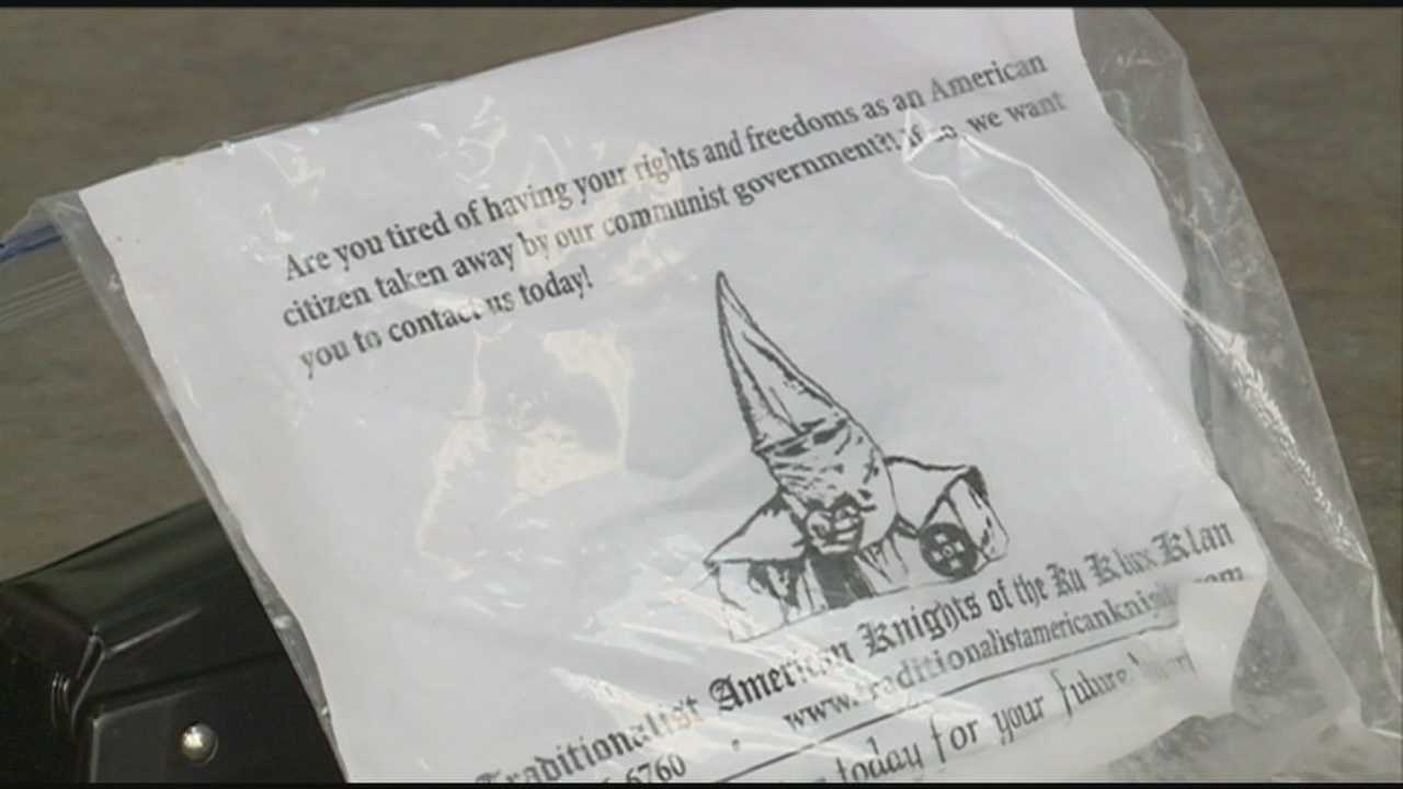 Ku Klux Klan recruiting banners were found scattered around neighborhoods in Washington County.