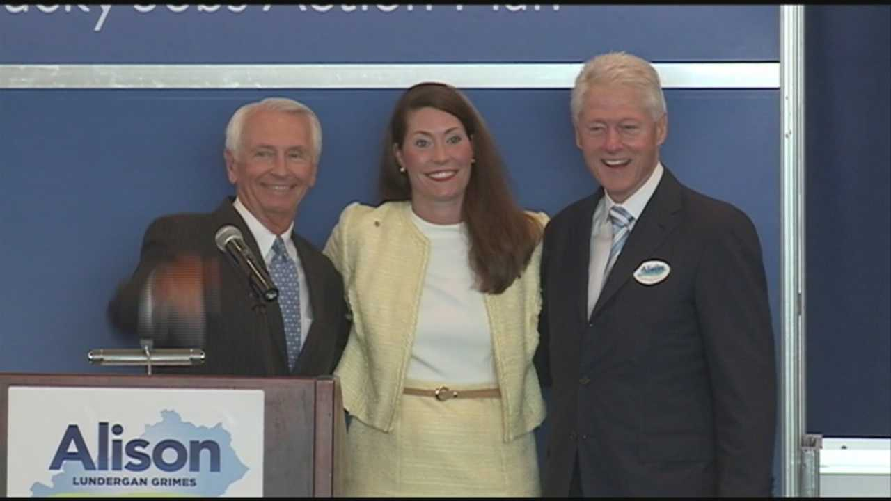 Former President Bill Clinton is combining campaigning and the PGA Championship Wednesday during his stop in Kentucky.