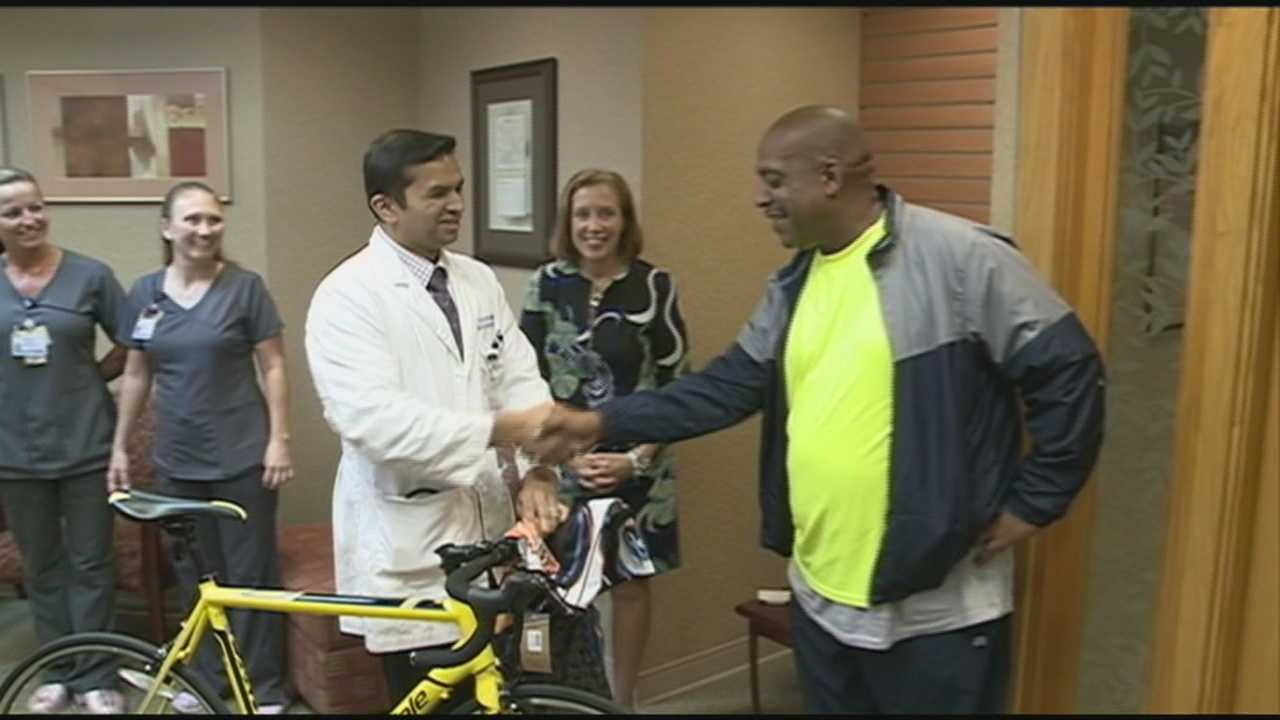 A Louisville cancer patient and healthy living advocate receives a new bike to replace one that was stolen.
