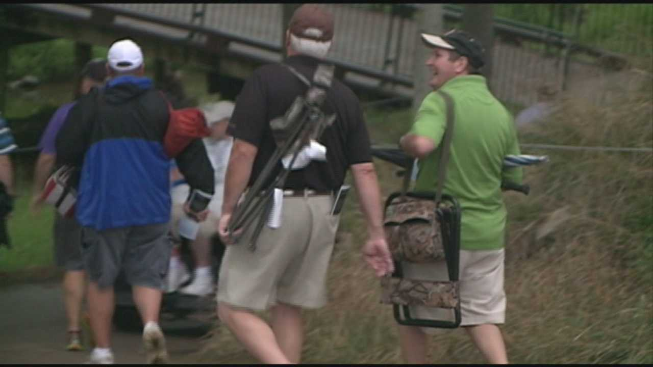 Golf fans hit Valhalla Golf Club early Saturday morning for the best viewing spots for the PGA Championship.
