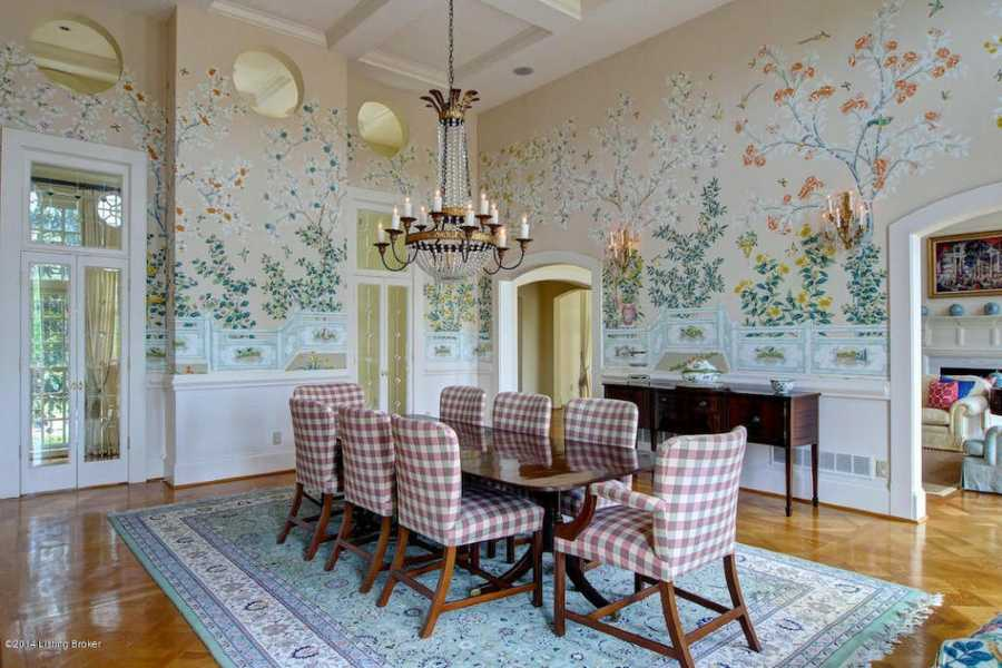The dining room features an enchanted wall mural.