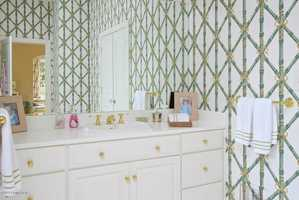 Bold wallpaper in this bathroom.